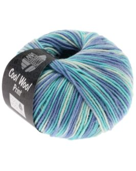 Cool Wool Print<br />728Himmelblau/Helltürkis/Ecru