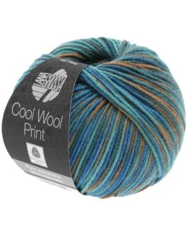 Cool Wool Print<br />817Taubenblau/Petrolgrün/Graubraun